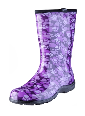 Women S Rain Amp Garden Boots Paw Print Purple